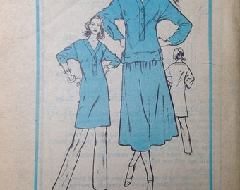 Designer Perry Ellis Portfolio Vintage Pattern Tunic Blouse Shirt Skirt Pants 34 bust