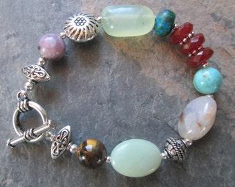 Multi-Gemstone Boho Bracelet ~ Carnelian, Amazonite, Agate, Lepidolite, Turquoise, Jasper, Tiger Eye & Jade