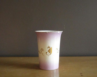 Toast to J - Vintage Gold Monogrammed China or Porcelain Cup - Unique Lavender Letter J Drinking Glass