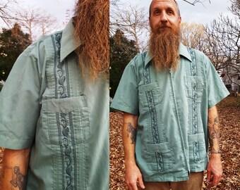 80s Guayabera Shirt in Jade Green by Haband, Vintage Shirt, 80s Shirt Size XXL