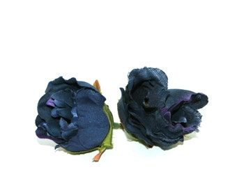 2 Small Navy Blue with Violet Peony Buds - Usable Petals