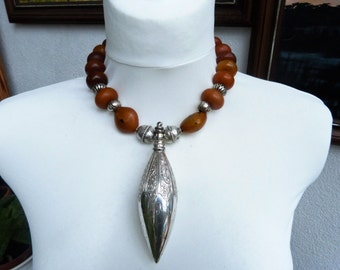 African Statement Necklace with Antique Silver Khol Box (or Perfume holder) OOAK, African Amber, Artful Assembly