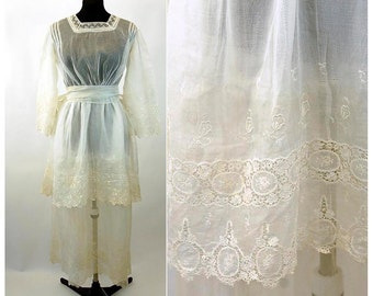 Antique Edwardian teens white tea dress wedding dress sheer organza lace tiers bell sleeves Size M