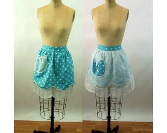 1950s apron half apron reversible polka dot blue white
