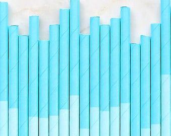 Aqua Paper Straws, Two Tone Aqua Cocktail Straws, Aqua Cake Pop Sticks, Aqua Drinking Straws, Wedding Paper Straws, Aqua Party Straws