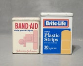 Vintage 2 Band Aid Tin Containers / Johnson & Johnson Brite Life Bandage Metal Hinged Box Advertising Display Case Apothecary Retro Storage