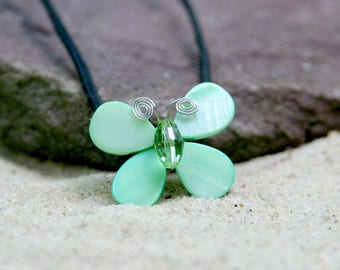 Rainforest Green Swarovski Crystal & Mother of Pearl Butterfly Necklace