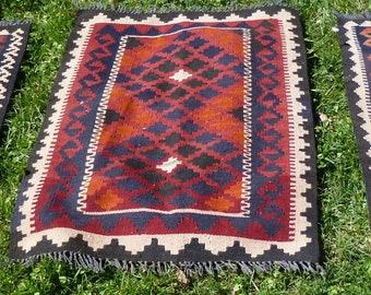 "Three Sturdy Rugs Wool Maimana Afghan Mats Kilim Tapis Carpets 102 x 79 cm 3 ft 4 x 2 ft 7"""