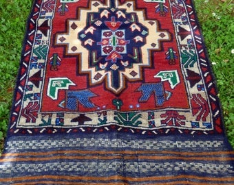 "Rich Red Baluchi rug/kilim from Afghanistan. 4ft 10"" x 2 ft 7. 147 x 83 cm Hand woven."