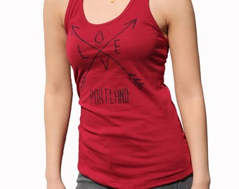 Love| Arrows| Women's Racerback tank top| Soft Lightweight| Yoga| Gym| Portland Oregon| Art by Matley| Hometown tees| travel tees| Rain drop