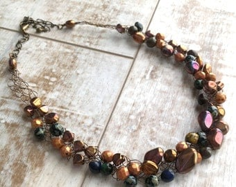 Beaded Necklace, Brown Wire Crochet Necklace, Statement Necklace, Gift for Her