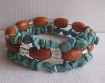 Garage Sale layered Torquoise, wood and glass beads Bracelet