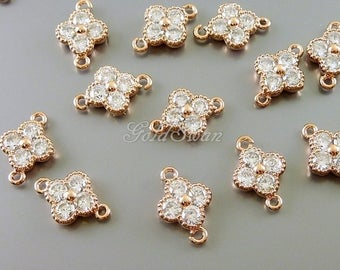 2 pcs rose gold flower CZ Cubic Zirconia connectors / links, floral charms, bridal / wedding jewelry making C1928-BRG
