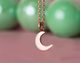Crescent Moon Necklace Solid Gold Extra Tiny Moon Necklace 14k solid gold Moon Charm Necklace Dainty rose gold white gold heart pendant