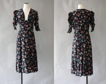 RESERVED ! Marguerite dress   Dark floral silk day dress with ruched sleeves and open neckline   1930's by cubevintage   extrasmall to small
