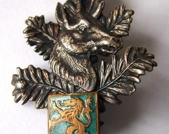COAT Of ARMS HERALDIC deer and lion Enamelled shield insignia Badge Pin
