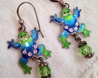 Sterling Silver Enamel Frog Earrings Blue Green Pink