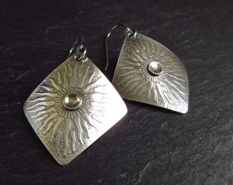 Sterling silver earrings with sunburst design, square shape earrings, oxidized silver patina, patterned metalwork jewelry, drop earrings