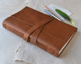 Large Rustic Leather Sketchbook in Caramel Brown