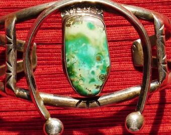 Navajo Sterling Silver Chrysocolla Naja Cuff Bracelet