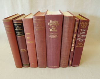 Books by the Foot - Vintage Berry Colored Books - Deep Rose Book Stack - Mahogany Brown Instant Library - Bookshelf Decor