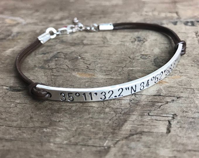 Personalized Bracelet Silver & Leather Sterling Silver Bracelet Custom Bracelet Latitude Longitude GPS Coordinates Hipster Gift