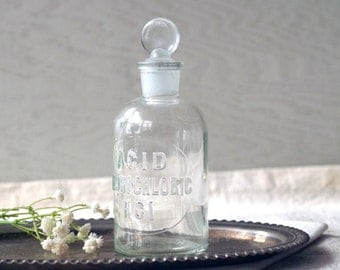 Etched Antique Apothecary Glass Bottle - Acid Hydrochloric - USA Wheaton Clear Glass