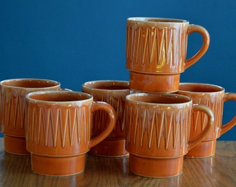 Set of 6 Vintage Orange Drip-glaze Ceramic Mugs