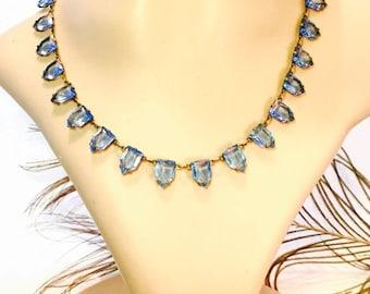 Scorpio Birthday SALE Beautiful Art Deco Blue Open back Geometric Pyramid Czech Crystal Vintage Necklace Art Deco Jewelry