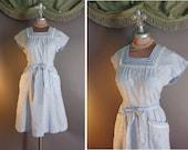 50s dress. 1950s vintage BLUE WHITE STRIPE embroidery lace cotton Swirl wrap full skirt dress