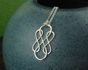Triple infinity necklace in sterling silver, sterling silver necklace, infinity, eternity necklace, friendship, mother's day