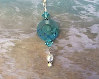 Sea Glass, Ocean Wave, Aquamarine, Blue, Pendant, Necklace, Nautical, Beach, Coastal, Handmade, Gift, Artisan made focal bead