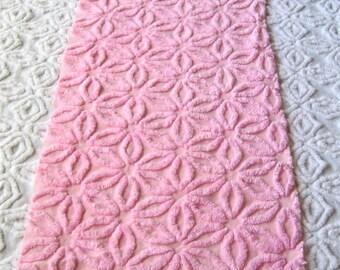 Fluffy Bubblegum Pink Hofmann Daisy Vintage Chenille Bedspread Fabric