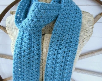 The December Rain Handmade Crochet Cable Skinny Scarf.  Dusty Blue hand crocheted textured ribbed boho winter neck wrap scarf