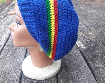 Made to Order Blue rasta slouch beanie hat