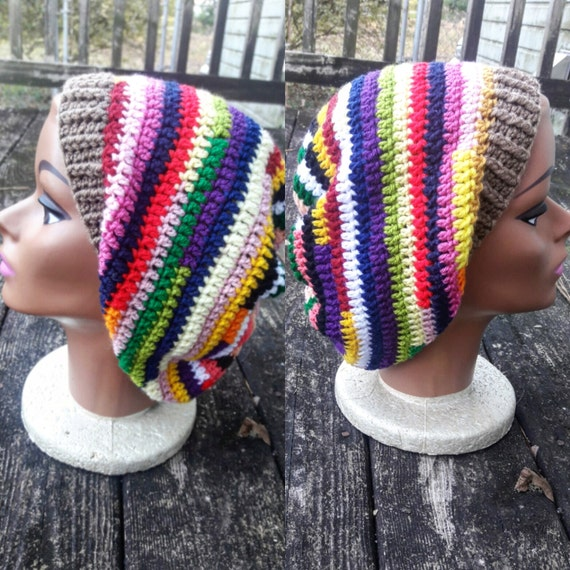 Multi color psychedelic hippie slouch beanie hat