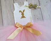 Sweet Pink and Gold Bunny Easter Tutu Dress for Baby Girls