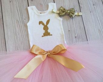 Pink Easter Tutu   Girls Pink Easter Dress   Bunny Print