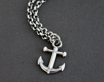 Mens Anchor Pendant Necklace, Mens Silver Chain Necklace