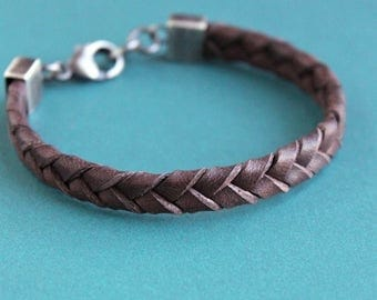 Mens Flat Braided Leather Bracelet,  Brown Leather Bracelet, Sterling Silver Clasp