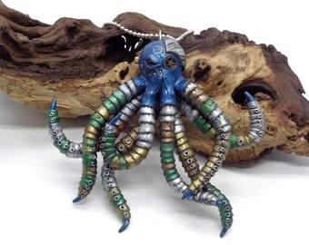 Steampunk Octopus, Polymer Clay Octopus, Octopus Necklace, Clay Octopus, Steampunk Necklace, Handmade Octopus, Steampunk Sculpture, OOAK