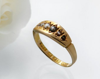 Victorian Ring   Antique Ring 15ct Gold Ring with Seed Pearls   English Gold Ring Hallmarked Ring   Engagement Ring Size US 6.5   UK Size N