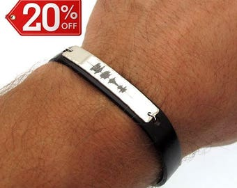 Sound Waves Bracelet, Mens Personalized Leather Bracelet, Personalized Mens Gift, Engraving Silver Voice recording Bracelet. Special gift