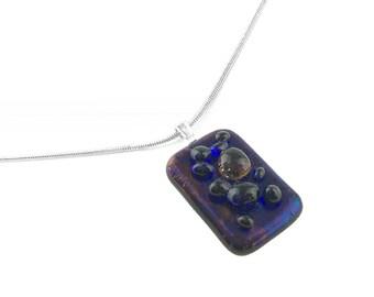 Pendant Necklace, Blue & Purple Glass Jewelry