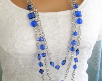 Long Blue Multi Strand Beaded Necklaces, Multi Strand Blue Beaded Necklaces, Silver Jewelry, Beaded Necklaces, Long Beaded Necklaces, N903