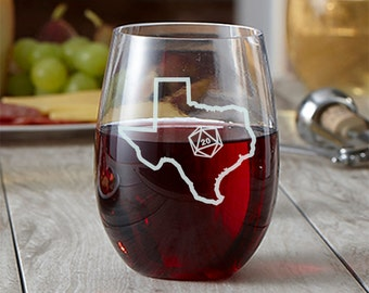 State Outline d20 Wine Glass - Choose Your State - Roll 20 - Etched Wine Glass - Gamer Gift - DnD Gift - Stemless Wine Glass - State Love