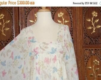 ON SALE Vintage 1970s DAVID Silverman Floral Printed Cotton Voile Maxi Dress