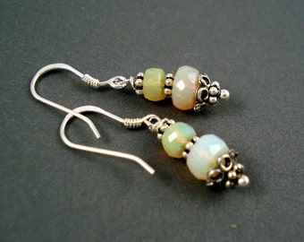 Opal Earrings with Sterling Silver Hook Wires, Oxidized Silver Beads and Colorful Ethiopian Opals