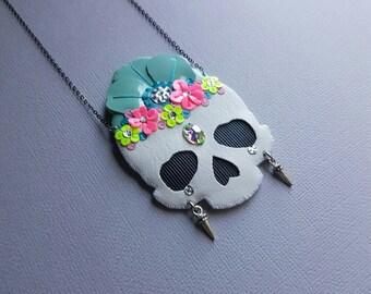 Floral Skull Necklace