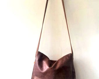 Messenger bag ,cross-body leather Bag- Brown